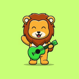 Cute lion playing guitar cartoon illustration