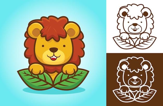 Симпатичный лев играет подглядывать, появляясь из листьев. карикатура иллюстрации в стиле плоской иконки