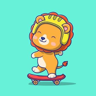 스케이트 보드 그림을 재생하는 귀여운 사자