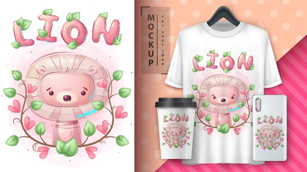 Cute lion poster and merchandising