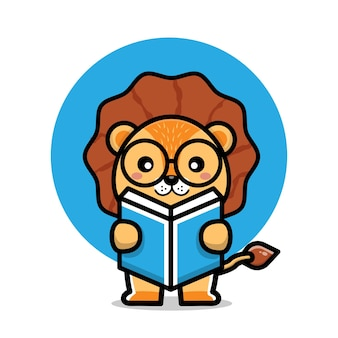 Cute lion read a book cartoon illustration