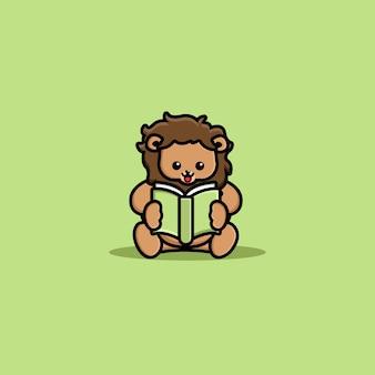 Cute lion reading book cartoon icon illustration