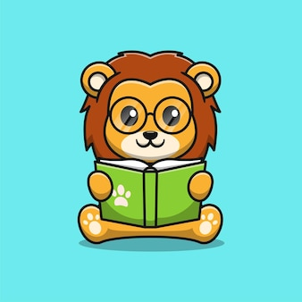 Cute lion reading a book cartoon illustration