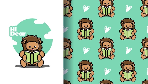 Cute lion reading book cartoon with seamless pattern