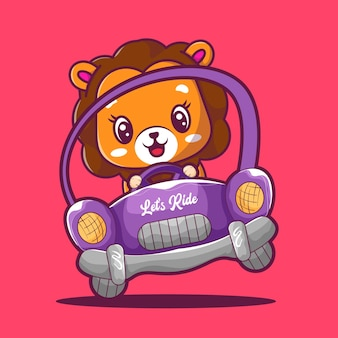 Cute lion riding a car icon illustration
