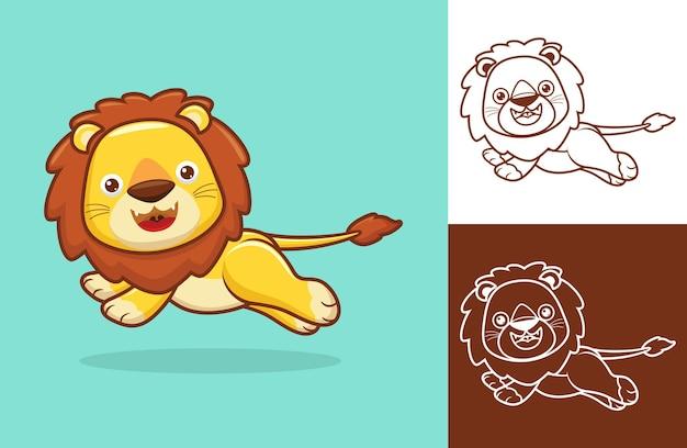 かわいいライオンが走っています。フラットアイコンスタイルの漫画イラスト Premiumベクター