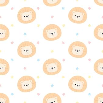 かわいいライオンのシームレスな背景の繰り返しパターン、壁紙の背景、かわいいシームレスパターンの背景