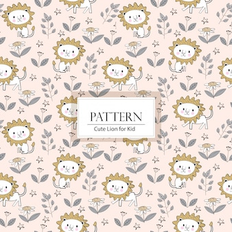 Cute lion seamless pattern/background