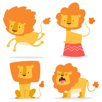 Cute lion simple vector cartoon set