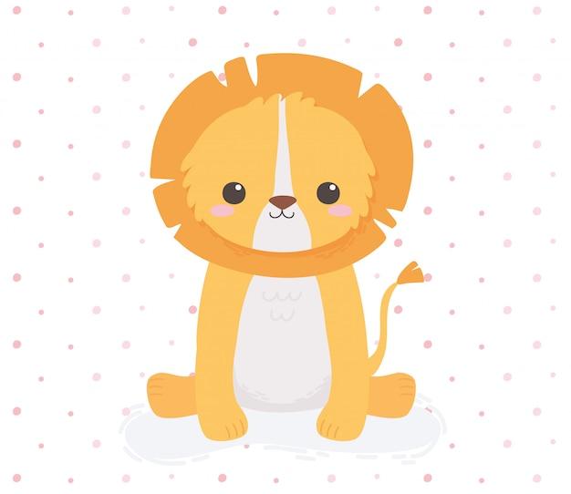 かわいいライオン座っている動物漫画点線デザインベクトルイラスト