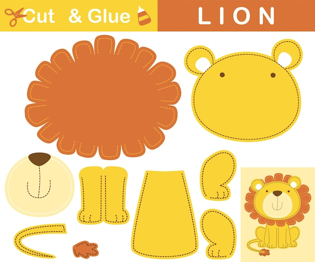 Милый лев сидит, улыбаясь. развивающая бумажная игра для детей. вырезка и склейка. иллюстрации шаржа