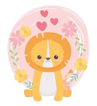 꽃 마음 만화 동물 앉아 귀여운 사자
