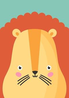 귀여운 사자 주둥이 평면 벡터 일러스트 레이 션. 사랑스러운 야생 동물 총구 만화 화려한 배경입니다. 사자 오렌지 머리, 얼굴 장식 배경을 닫습니다. 유치한 동물원 카드 디자인 아이디어.
