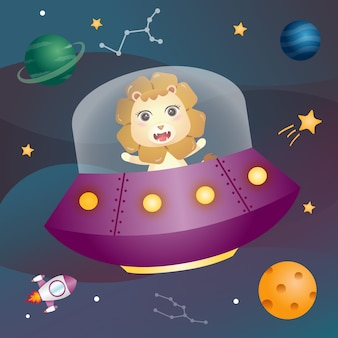 A cute lion in the space galaxy