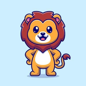 Leone sveglio in piedi icona di vettore del fumetto. concetto di icona natura animale isolato vettore premium. stile cartone animato piatto