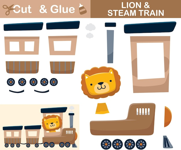Cute lion on steam train. education paper game for children. cutout and gluing.   cartoon illustration
