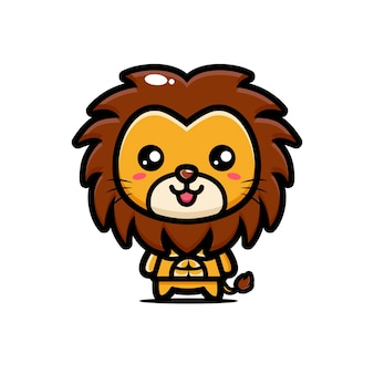 강하고 근육질의 귀여운 사자