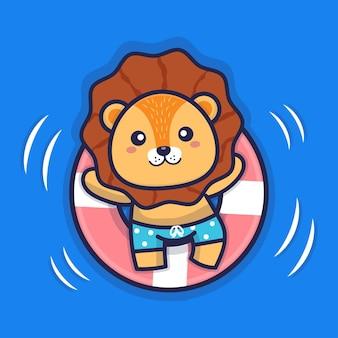 Симпатичный лев, плавающий с иллюстрацией кольца для плавания