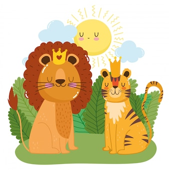 Cute lion and tiger with crowns