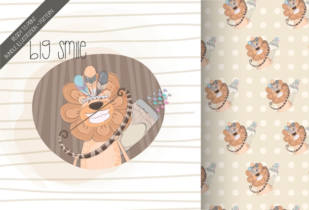 Cute lion tribal with seamless pattern