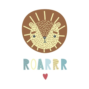 A cute lion. vector illustration, heart and lettering roar.