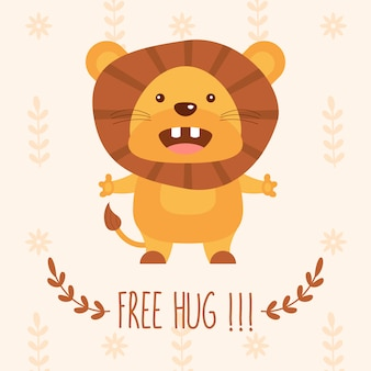 Cute lion vector illustration with word