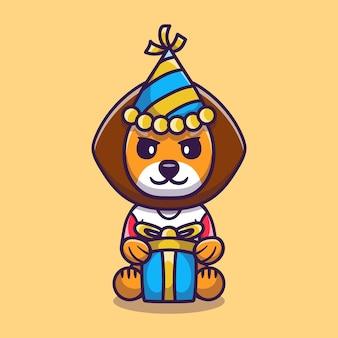 Милый лев в шляпе и подарок на день рождения