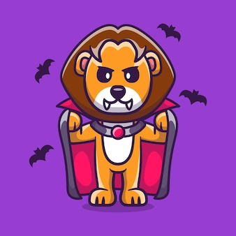 Cute lion wearing vampire halloween costume