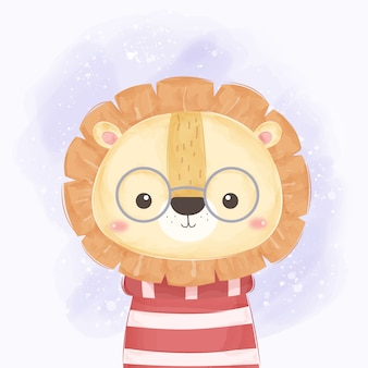 Cute lion wears glasses