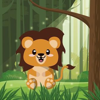 かわいいライオン野生動物キャラクターアイコン