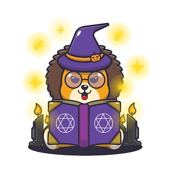 Cute lion witch reading spell book cute halloween cartoon illustration