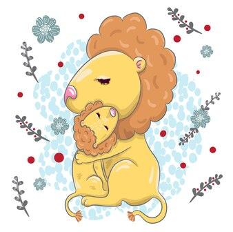 Cute lion with baby cartoon hand drawn