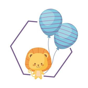 Cute lion with balloons helium