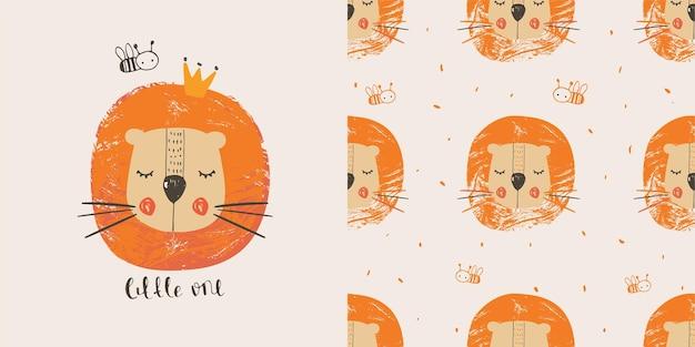 원활한 패턴으로 꿀벌 손으로 그린 컬러 캐릭터와 귀여운 사자 티셔츠에 사용할 수 있습니다