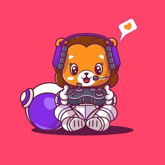 Милый лев с консольной игрой значок мультяшный векторная иллюстрация