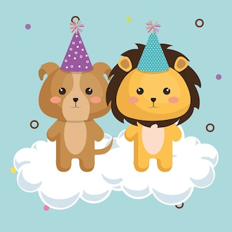 Cute lion with dog kawaii birthday card