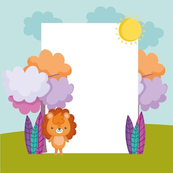 Cute lion with empty banner