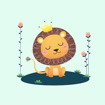 花とかわいいライオン。