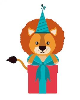 선물 상자와 함께 귀여운 사자