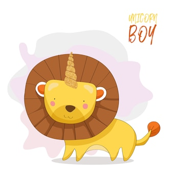 Cute lion with gold glitter horn