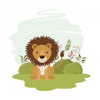 Cute lion with landscape
