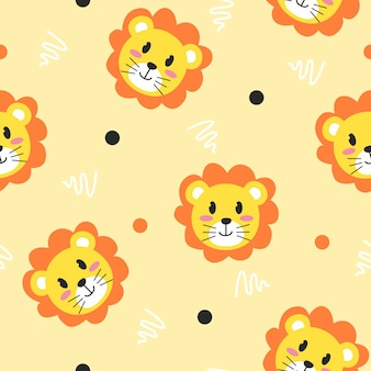 Cute lion with line art pattern illustration