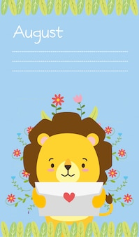 Cute lion with love letter, august reminder, flat style