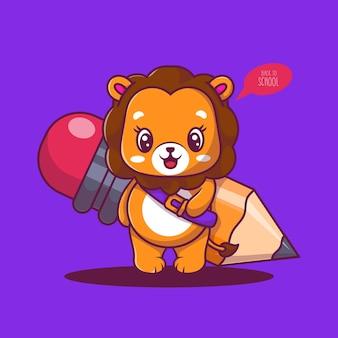 Милый лев с карандашом значок мультфильм векторные иллюстрации