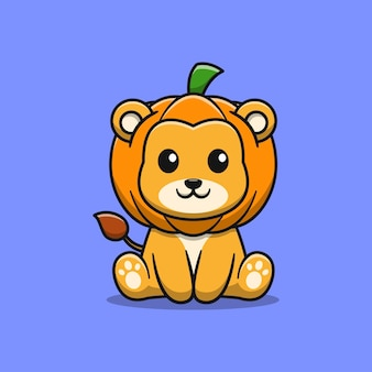 カボチャの漫画イラストとかわいいライオン