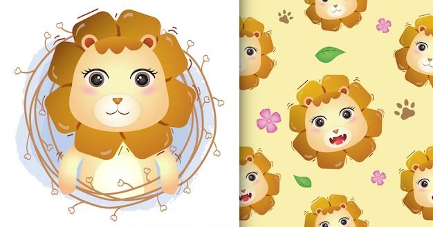 小枝のシームレスなパターンとイラストのデザインのかわいいライオン