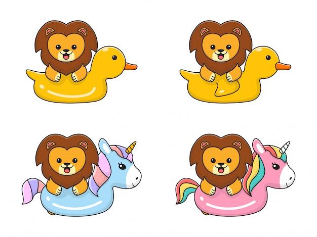 ユニコーンとアヒルの水泳リングでかわいいライオン