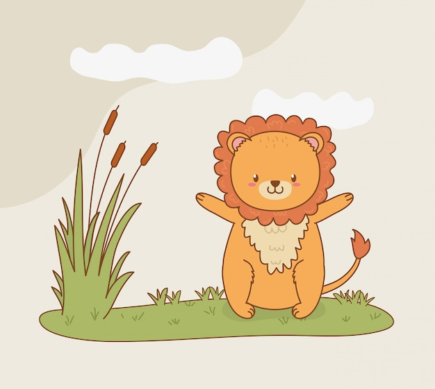 Cute lion woodland in the field character