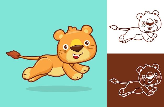 귀여운 암 사자가 달린다. 평면 아이콘 스타일의 만화 그림