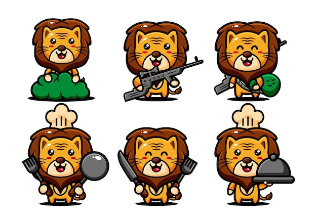 Cute lions animals characters set